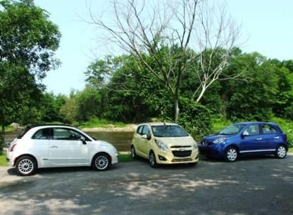 Essai comparatif - Trois minivoitures Nissan Micra, Chevrolet Spark et Fiat 500